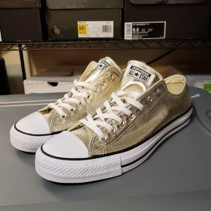 Gold Converse Low Top All Stars size 11